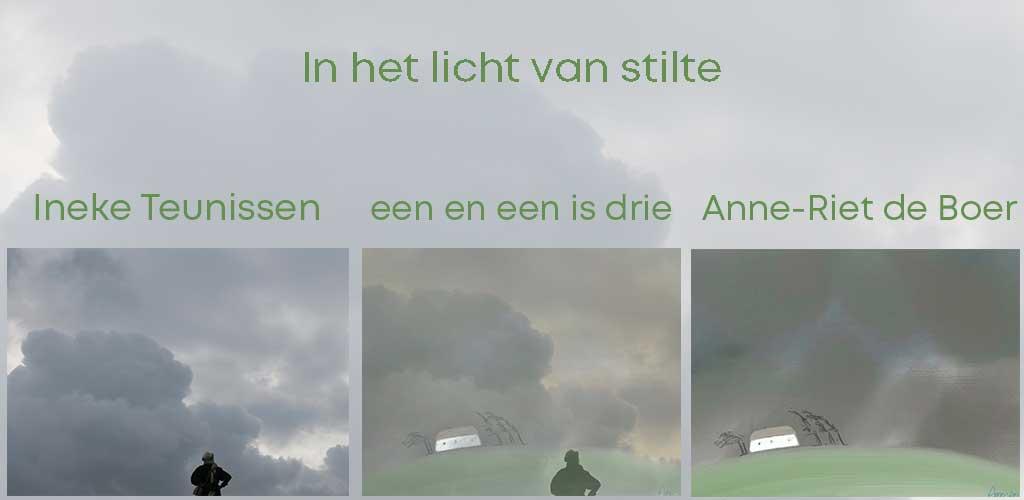 """Drieluik uit de expositie """"in het licht van stilte"""" van de kunstenaars Ineke Teunissen en Anne-Riet de Boer"""